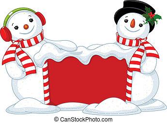 natal, tábua, dois, bonecos neve