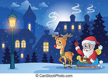 natal, tema, 6, cena inverno
