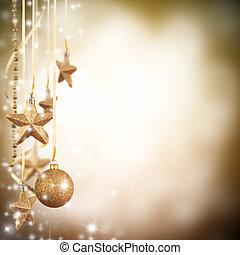 natal, tema, com, dourado, vidro, estrelas, e, livre, espaço, para, texto