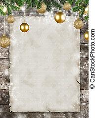 natal, tema, com, em branco, papel, ligado, pranchas madeira