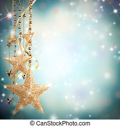 natal, tema, com, ouro, vidro, estrelas, e, livre, espaço, para, texto