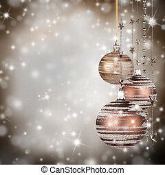 natal, tema, com, vidro, bolas, e, livre, espaço, para, texto