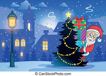 natal, tema, inverno, 7, cena