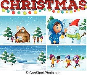natal, tema, neve, crianças