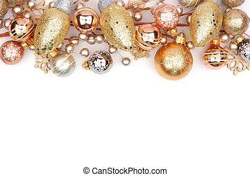 natal, topo, borda, de, ouro, ornamentos, isolado, branco