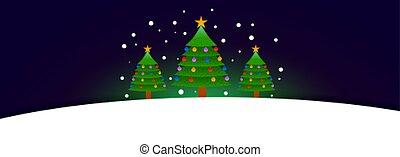 natal, três, árvore, bandeira, texto, espaço