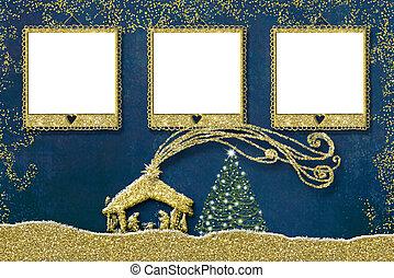 natal, três, foto formula, card.