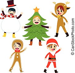 natal, traje, crianças