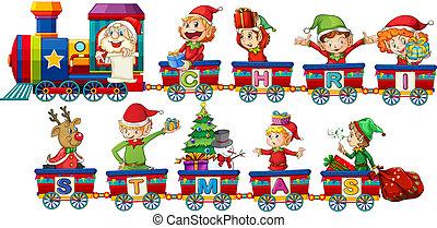 natal, trem, branco, fundo