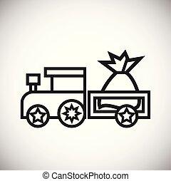 natal, trem, com, presentes, linha magra, branco, fundo