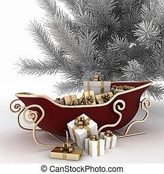 natal, trenós, de, santa, com, presentes, e, árvore natal, ligado, um, fundo branco