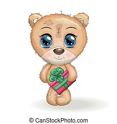 natal, urso, grande, designs., patas, branca, olhos, seu, caricatura, cute, presente, fundo