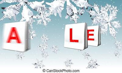 natal, venda, advertisement., animação, de, branca, sacolas, soletrando, venda, em, natal, fundo