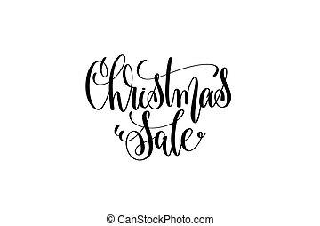 natal, venda, mão, lettering, inscrição