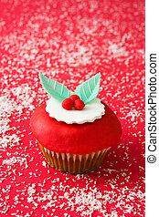 natal, vermelho, cupcake