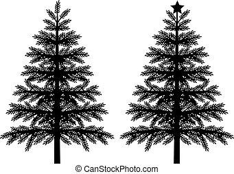 natal, vetorial, silueta, árvore, ilustração