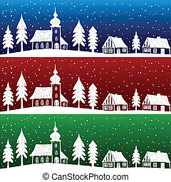 natal, vila, com, igreja, seamless, padrão