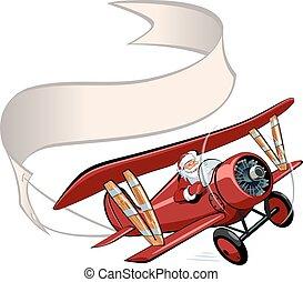 natale, aeroplano, bandiera, cartone animato, retro