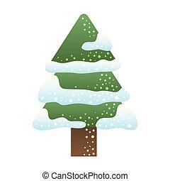 natale, allegro, neve, albero pino