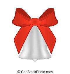 natale, arco, argento, rosso, campana