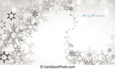 natale, argento, fondo, con, fiocchi neve, e, decente, blu, buon natale, testo, -, orizzontale, versione