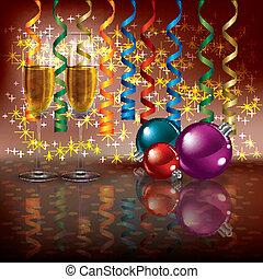 natale, augurio, con, champagne, e, decorazioni