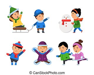 natale, bambini, inverno, characters., ragazze, neve, isolato, ragazzi, vettore, sorriso, illustrazioni, festa, gioco, bambini, vestiti