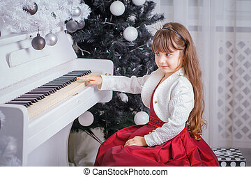 natale, bambino, piccola ragazza, gioco, su, pianoforte, a casa