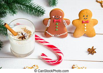 Natale, biscotti, abete, Rami, casalingo, spazio, legno, festivo, testo, libero, tuo, fondo, delizioso, pan zenzero, vetro, latte, uomini