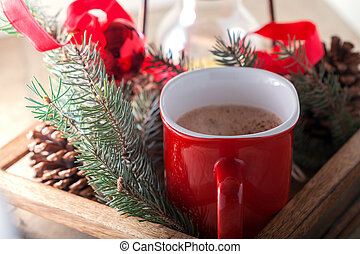 natale, cacao, in, tazza