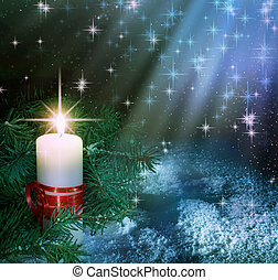 natale, candela, composizione