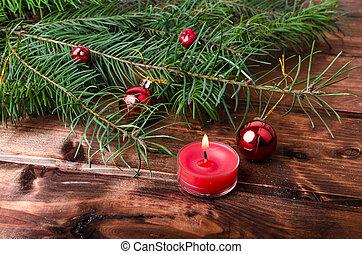 natale, candela, con, aghi pino
