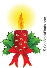 natale, candela, vettore