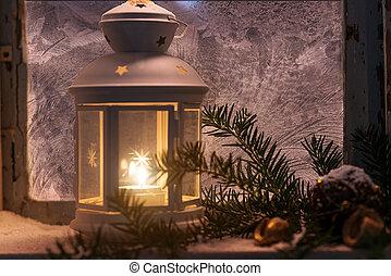 natale, -, candele, splendore, in, il, steamy, finestra