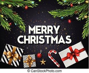 natale, cartolina auguri, con, scatole regalo, e, abete, rami, su, sfondo nero