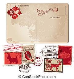 natale, cartolina, vendemmia, -, disegno, invito, francobolli, vettore, album, congratulazione