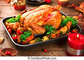natale, cena., arrostito, tacchino, festa, servito, tavola