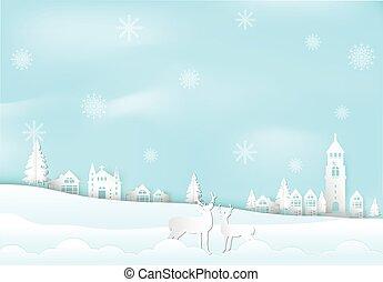 natale, cervo, carta, neve, città, fondo., vacanza inverno, stile, illustration., fiocco, città, stagione, arte