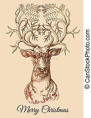 natale, cervo, schizzo, vettore, illustrazione