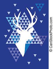 natale, cervo, triangolo, modello