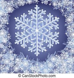 natale, congelato, fondo, con, fiocchi neve
