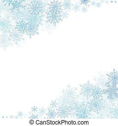 natale, cornice, con, piccolo, blu, fiocchi neve