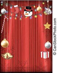 natale, decorativo, oggetto, appendere, su, tenda rossa