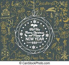 natale, e, felice anno nuovo, palla