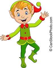 natale, elfo, cartone animato, carino, presentare