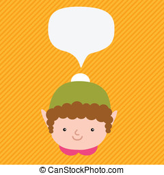 natale, elfo, con, bolla discorso