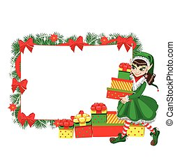 natale, elfo, con, cornice vuota