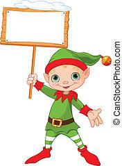 natale, elfo, con, segno