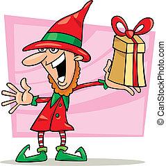 natale, elfo, con, speciale, regalo