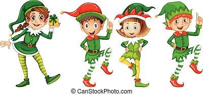 natale, elfo, in, verde, costume